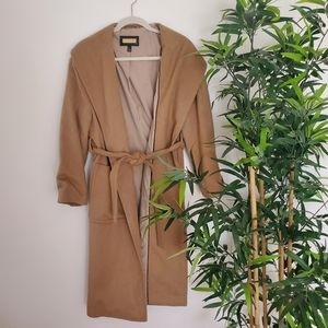 Tan Belted Wool Coat Mango Outlet